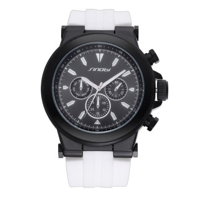 SINOBI 2683 Male Quartz Watch - SinobiMens Watches<br>SINOBI 2683 Male Quartz Watch<br><br>Brand: Sinobi<br>Watches categories: Male table<br>Watch style: Trends in outdoor sports<br>Available color: White, Black, Orange<br>Movement type: Quartz watch<br>Shape of the dial: Round<br>Display type: Analog<br>Case material: Alloy<br>Band material: Silicone<br>Clasp type: Pin buckle<br>Special features: Decorating small sub-dials, Luminous<br>The dial thickness: 1.4 cm / 0.55 inches<br>The dial diameter: 5.0 cm / 1.97 inches<br>The band width: 2.6 cm / 1.02 inches<br>Product weight: 0.115 kg<br>Package weight: 0.165 kg<br>Product size (L x W x H): 27 x 5 x 1.4 cm / 10.61 x 1.97 x 0.55 inches<br>Package size (L x W x H): 28 x 6 x 2.4 cm / 11.00 x 2.36 x 0.94 inches<br>Package contents: 1 x SINOBI 2683 Watch