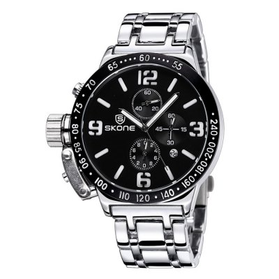 Skone 6586 Men Quartz WatchMens Watches<br>Skone 6586 Men Quartz Watch<br><br>Brand: Skone<br>Watches categories: Male table<br>Watch style: Fashion<br>Watch color: Black, Silver and Black, Silver, Black and White<br>Movement type: Quartz watch<br>Shape of the dial: Round<br>Display type: Analog<br>Case material: Alloy<br>Band material: Stainless steel<br>Clasp type: Folding clasp with safety<br>Special features: Date, Luminous, Moving small three stitches<br>The dial thickness: 1.3 cm / 0.51 inches<br>The dial diameter: 4.5 cm / 1.77 inches<br>The band width: 2.2 cm / 0.87 inches<br>Product weight: 0.159 kg<br>Package weight: 0.209 kg<br>Product size (L x W x H): 25.5 x 4.5 x 1.3 cm / 10.02 x 1.77 x 0.51 inches<br>Package size (L x W x H): 26.5 x 5.5 x 2.3 cm / 10.41 x 2.16 x 0.90 inches<br>Package contents: 1 x Skone 6586 Watch