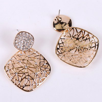 Pair of Stunning Rhinestoned Geometric Hollow Out Earrings For WomenEarrings<br>Pair of Stunning Rhinestoned Geometric Hollow Out Earrings For Women<br><br>Earring Type: Drop Earrings<br>Gender: For Women<br>Style: Trendy<br>Shape/Pattern: Geometric<br>Length: 4.1CM<br>Weight: 0.05KG<br>Package Contents: 1 x Earring (Pair)