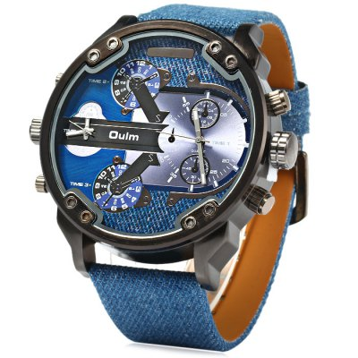 Oulm 3548 Men Quartz WatchMens Watches<br>Oulm 3548 Men Quartz Watch<br><br>Brand: Oulm<br>Watches categories: Male table<br>Watch style: Fashion<br>Style elements: Big dial<br>Available color: Blue<br>Movement type: Quartz watch<br>Shape of the dial: Round<br>Display type: Analog<br>Case material: Stainless steel<br>Band material: Cloth leather<br>Clasp type: Pin buckle<br>Special features: Decorating small sub-dials<br>The dial thickness: 1.5 cm / 0.59 inches<br>The dial diameter: 6.0 cm / 2.36 inches<br>The band width: 2.3 cm / 0.91 inches<br>Wearable length: 18 - 24 cm / 7.09 - 9.45 inches<br>Product weight: 0.110 kg<br>Package weight: 0.16 kg<br>Product size (L x W x H): 27.5 x 6 x 1.5 cm / 10.81 x 2.36 x 0.59 inches<br>Package size (L x W x H): 28.5 x 7 x 2.5 cm / 11.20 x 2.75 x 0.98 inches<br>Package contents: 1 x Oulm 3548 Watch