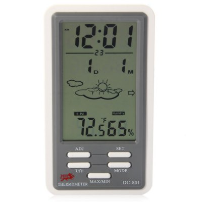 DC-801 5 in 1 Digital Temperature Humidity Meter / Calendar / Clock / Alarm