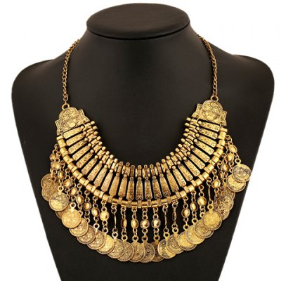 Noble Solid Color Coin Tassel Necklace For Women