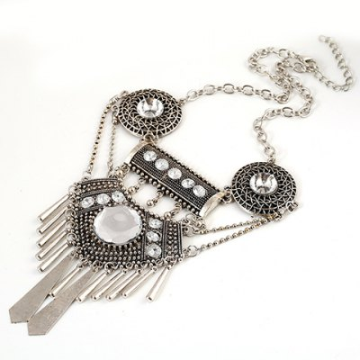 Ethnic Hollow Out Geometric Tassel Necklace For Women