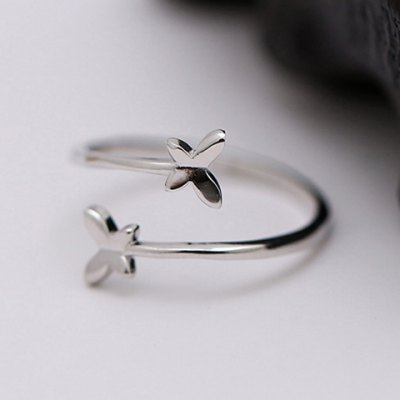 Graceful Pure Color Butterfly Shape Cuff Ring For Women