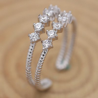 Fresh Style Double-Layered Rhinestone Ring For Women