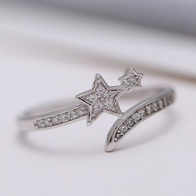 Vintage Rhinestone Pentagram Cuff Ring For WomenRings<br>Vintage Rhinestone Pentagram Cuff Ring For Women<br><br>Gender: For Women<br>Metal Type: Silver Plated<br>Style: Trendy<br>Shape/Pattern: Star<br>Diameter: 1.7CM<br>Weight: 0.05KG<br>Package Contents: 1 x Ring