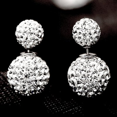 Pair of Graceful Rhinestoned Ball Earrings For Women