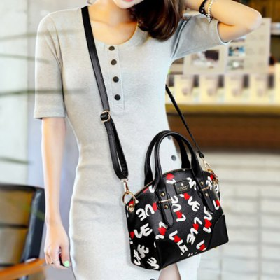 Vintage PU Leather and Printed Design Women's Tote Bag