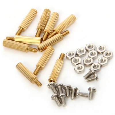 10pcs Copper Cylinder + Screw + Nut Set