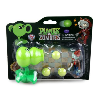 Peashooter PVZ Shooter Calabash Educational Toy Safe Game Plant + Zombie + 3 Ball Set