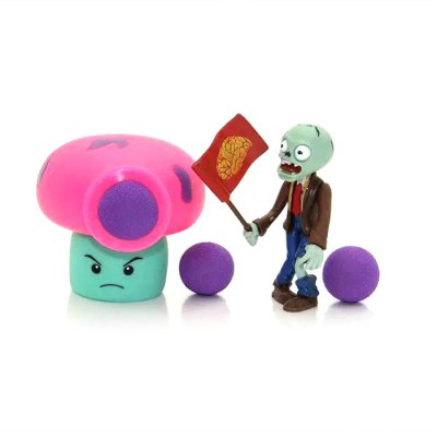 Peashooter PVZ Shooter Fume-shroom Educational Toy Safe Game Plant + Zombie + 3 Ball Set