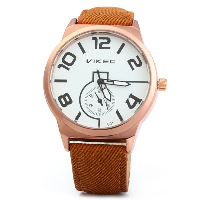 Vikec 601 Men Quartz WatchMens Watches<br>Vikec 601 Men Quartz Watch<br><br>Brand: Vikec<br>Watches categories: Male table<br>Watch style: Fashion<br>Available color: Blue, Brown, Black, White<br>Movement type: Quartz watch<br>Shape of the dial: Round<br>Display type: Analog<br>Case material: Stainless steel<br>Band material: Cloth leather<br>Clasp type: Pin buckle<br>Special features: Decorating small sub-dials<br>The dial thickness: 1.2 cm / 0.47 inches<br>The dial diameter: 4.5 cm / 1.77 inches<br>The band width: 2.0 cm / 0.79 inches<br>Wearable length: 17.5 - 22 cm / 6.89 - 8.66 inches<br>Product weight: 0.046 kg<br>Package weight: 0.096 kg<br>Product size (L x W x H): 24 x 4.5 x 1.2 cm / 9.43 x 1.77 x 0.47 inches<br>Package size (L x W x H): 25 x 5.5 x 2.2 cm / 9.83 x 2.16 x 0.86 inches<br>Package contents: 1 x Vikec 606 Watch