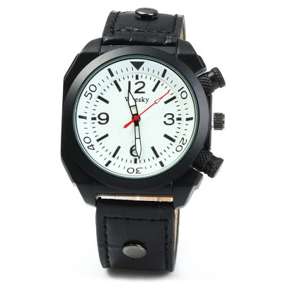Weesky Men Quartz WatchMens Watches<br>Weesky Men Quartz Watch<br><br>Brand: Weesky<br>Watches categories: Male table<br>Watch style: Casual<br>Available color: Black, White, Brown<br>Movement type: Quartz watch<br>Shape of the dial: Round<br>Display type: Analog<br>Case material: Stainless steel<br>Band material: Leather<br>Clasp type: Pin buckle<br>The dial thickness: 1.0 cm / 0.39 inches<br>The dial diameter: 4.0 cm / 1.57 inches<br>The band width: 2.0 cm / 0.79 inches<br>Wearable length: 18 - 22.5 cm / 7.09 - 8.86 inches<br>Product weight: 0.057 kg<br>Package weight: 0.107 kg<br>Product size (L x W x H): 25.5 x 4 x 1 cm / 10.02 x 1.57 x 0.39 inches<br>Package size (L x W x H): 26.5 x 5 x 2 cm / 10.41 x 1.97 x 0.79 inches<br>Package contents: 1 x Weesky Watch