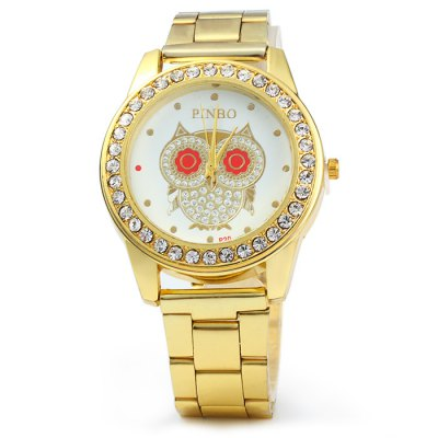 PINBO P20 Female Owl Pattern Diamond Quartz WatchWomens Watches<br>PINBO P20 Female Owl Pattern Diamond Quartz Watch<br><br>Brand: PINBO<br>Watches categories: Female table<br>Available color: Gold<br>Style: Fashion&amp;Casual<br>Movement type: Quartz watch<br>Shape of the dial: Round<br>Display type: Analog<br>Case material: Stainless steel<br>Band material: Stainless steel<br>Clasp type: Folding clasp with safety<br>The dial thickness: 0.7 cm / 0.28 inches<br>The dial diameter: 4.0 cm / 1.57 inches<br>The band width: 1.8 cm / 0.7 inches<br>Product weight: 0.070 kg<br>Package weight: 0.120 kg<br>Product size (L x W x H) : 20 x 4 x 0.7 cm / 7.86 x 1.57 x 0.28 inches<br>Package size (L x W x H): 21 x 5 x 1.7 cm / 8.25 x 1.97 x 0.67 inches<br>Package contents: 1 x PINBO P20 Watch