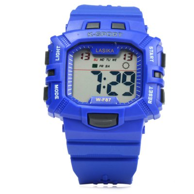 Lasika WF87 LED Sports WatchLED Watches<br>Lasika WF87 LED Sports Watch<br><br>Brand: Lasika<br>People: Male table<br>Watch style: LED, Fashion&amp;Casual, Outdoor Sports<br>Available color: Black, Yellow, Orange, Green, Blue, Deep Blue, Red, Azure<br>Shape of the dial: Rectangle<br>Movement type: Digital watch<br>Display type: Digital<br>Hour formats: 24 Hour<br>Case material: PC<br>Band material: Rubber<br>Clasp type: Pin buckle<br>Special features: Date, Day, EL Back-light, Stopwatch, Alarm clock<br>Water resistance: 30 meters<br>The dial thickness: 1.4 cm / 0.55 inches<br>The dial diameter: 4.7 cm / 1.85 inches<br>The band width: 1.8 cm / 0.71 inches<br>Wearable length: 15 - 22 cm / 5.9 - 8.7 inches<br>Product weight: 0.047 kg<br>Package weight: 0.097 kg<br>Product size (L x W x H) : 24 x 4.7 x 1.4 cm / 9.43 x 1.85 x 0.55 inches<br>Package size (L x W x H): 25 x 5.7 x 2.4 cm / 9.83 x 2.24 x 0.94 inches<br>Package contents: 1 x Lasika WF87 LED Sports Watch