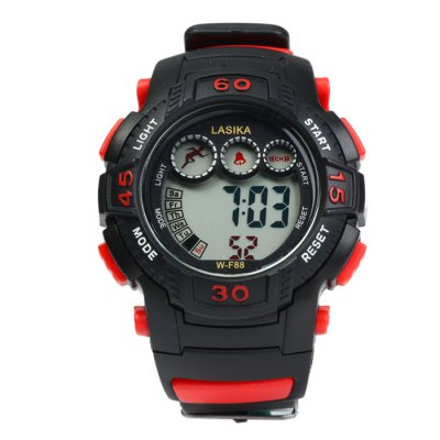 Lasika WF88 LED Sports WatchSports Watches<br>Lasika WF88 LED Sports Watch<br><br>Brand: Lasika<br>People: Male table<br>Watch style: Outdoor Sports, LED, Fashion&amp;Casual<br>Available color: Green, Orange, Yellow, Black, Red, Blue<br>Shape of the dial: Round<br>Movement type: Digital watch<br>Display type: Digital<br>Case material: PC<br>Band material: Rubber<br>Clasp type: Pin buckle<br>Special features: Alarm clock, Stopwatch, EL Back-light, Day, Date<br>Water resistance: 30 meters<br>The dial thickness: 1.5 cm / 0.59 inches<br>The dial diameter: 4.0 cm / 1.57 inches<br>The band width: 1.8 cm / 0.71 inches<br>Wearable length: 15 - 22 cm / 5.9 - 8.7 inches<br>Product weight: 0.040 kg<br>Package weight: 0.09 kg<br>Product size (L x W x H) : 24 x 4 x 1.5 cm / 9.43 x 1.57 x 0.59 inches<br>Package size (L x W x H): 25 x 5 x 2.5 cm / 9.83 x 1.97 x 0.98 inches<br>Package contents: 1 x Lasika WF88 LED Sports Watch