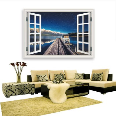 Creactive Harbour Wharf Starry Sky Style 3D Wallpaper