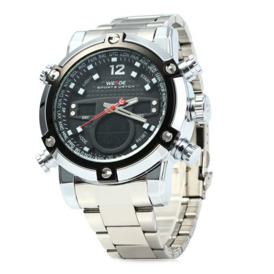 Weide WH5205 Men LED Sports WatchSports Watches<br>Weide WH5205 Men LED Sports Watch<br><br>Brand: Weide<br>People: Male table<br>Watch style: Outdoor Sports, LED<br>Available color: Yellow, White, Red, Blue, Orange, Black<br>Shape of the dial: Round<br>Movement type: Double-movtz<br>Display type: Analog-Digital<br>Hour formats: 12/24 Hour<br>Case material: Stainless Steel<br>Band material: Stainless steel<br>Clasp type: Folding clasp with safety<br>Special features: Stopwatch, Day, Date, Alarm clock<br>Water resistance: 30 meters<br>The dial thickness: 2.0 cm / 0.79 inches<br>The dial diameter: 5.5 cm / 2.16 inches<br>The band width: 2.0 cm / 0.79 inches<br>Product weight: 0.185 kg<br>Package weight: 0.235 kg<br>Product size (L x W x H) : 22 x 5.5 x 2 cm / 8.65 x 2.16 x 0.79 inches<br>Package size (L x W x H): 23 x 6.5 x 3 cm / 9.04 x 2.55 x 1.18 inches<br>Package contents: 1 x Weide WH5205 Watch, 1 x Chinese and English Manual