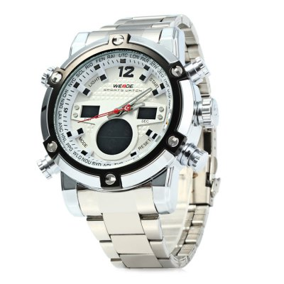 Weide WH5205 Men LED Sports WatchSports Watches<br>Weide WH5205 Men LED Sports Watch<br><br>Brand: Weide<br>People: Male table<br>Watch style: Outdoor Sports, LED<br>Available color: Red, Blue, Orange, Yellow, Black, White<br>Shape of the dial: Round<br>Movement type: Double-movtz<br>Display type: Analog-Digital<br>Hour formats: 12/24 Hour<br>Case material: Stainless Steel<br>Band material: Stainless steel<br>Clasp type: Folding clasp with safety<br>Special features: Day, Alarm clock, Date, Stopwatch<br>Water resistance: 30 meters<br>The dial thickness: 2.0 cm / 0.79 inches<br>The dial diameter: 5.5 cm / 2.16 inches<br>The band width: 2.0 cm / 0.79 inches<br>Product weight: 0.185 kg<br>Package weight: 0.235 kg<br>Product size (L x W x H) : 22 x 5.5 x 2 cm / 8.65 x 2.16 x 0.79 inches<br>Package size (L x W x H): 23 x 6.5 x 3 cm / 9.04 x 2.55 x 1.18 inches<br>Package contents: 1 x Weide WH5205 Watch, 1 x Chinese and English Manual