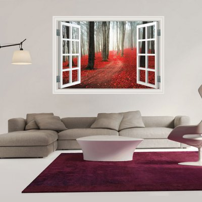 Red Autumnal Leaves Forest Floor Style 3D Wallpaper
