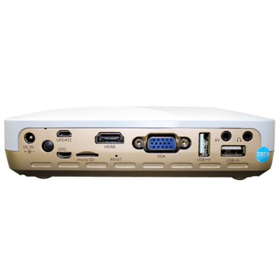ZECO CX3MAX DLP ProjectorProjectors<br>ZECO CX3MAX DLP Projector<br><br>Brand: ZECO<br>Model: CX3MAX<br>Display Type: DLP<br>Native Resolution: 1280 x 800<br>Brightness: 700LM<br>Contrast Ratio: 2000:1<br>Lamp Life: 30000 hours<br>Projection Distance: 0.5 - 2.5 m<br>Image Scale: 4:3, 16:9, 16:10<br>Image Size: 40 - 300 inch<br>Power Supply: 100-240V<br>Lamp: LED<br>Interface: USB, HDMI, DC, DC Port, AV, Audio Out Port, VGA<br>Picture Formats: JPEG, BMP, PNG, MPTG, etc.<br>Audio Formats: MP3, AAC, WMA, APE, etc.<br>Video Formats: MPEG2 / 4, AVI, H.264, RMVB, TS, TP, MKV, FLV, MOV, MP4, etc.<br>Product Weight: 1.200 kg<br>Package Weight: 1.300 kg<br>Product Size (L x W x H): 15.9 x 12.0 x 3.9 cm / 6.25 x 4.72 x 1.53 inches<br>Package Size (L x W x H): 28.4 x 21.2 x 6.3 cm / 11.16 x 8.33 x 2.48 inches<br>Package Contents: 1 x Projector, 1 x Remote Controller, 1 x Adaptor, 1 x AV Cable