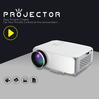 GP9S LCD Projector Home TheaterProjectors<br>GP9S LCD Projector Home Theater<br><br>Model: GP9S<br>Display type: LCD<br>Native Resolution: 800 x 480<br>Resolution Support: 1080P<br>Brightness: 800LM<br>Contrast Ratio: 600:1<br>Projection Distance: 0.8 - 4.2m<br>Image Size: 18 - 150 inch<br>Image Scale: 16:9<br>Interface: HDMI,USB,VGA,SD Card Slot<br>Power Supply: 12V<br>Color: White<br>Product weight: 0.675KG<br>Package weight: 1.262 KG<br>Product size (L x W x H): 17.00 x 13.00 x 7.00 cm / 6.69 x 5.12 x 2.76 inches<br>Package size (L x W x H): 21.00 x 17.00 x 15.00 cm / 8.27 x 6.69 x 5.91 inches<br>Package Contents: 1 x Projector, 1 x Remote Controller, 1 x AV Cable, 1 x Bilingual Manual in English and Chinese, 1 x Adaptor