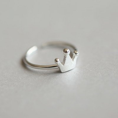 Cute Pure Color Crown Shape Ring For Women