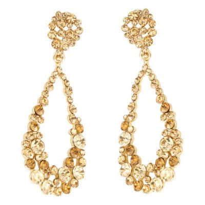 Pair of Fashionable Rhinestoned Hollow Out Water Drop Earrings For Women