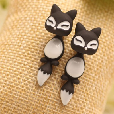 Pair of Chic Colored Fox Drop Earrings For Women