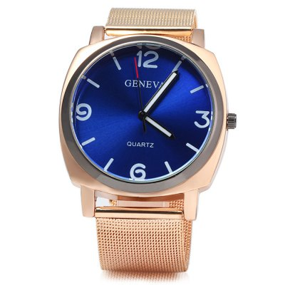 Geneva Golden Case Men Quartz Watch Steel Net StrapMens Watches<br>Geneva Golden Case Men Quartz Watch Steel Net Strap<br><br>Brand: Geneva<br>Watches categories: Male table<br>Watch style: Fashion<br>Available color: Red, Blue, Brown, Black, White<br>Movement type: Quartz watch<br>Shape of the dial: Round<br>Display type: Analog<br>Case material: Stainless steel<br>Band material: Steel<br>Clasp type: Pin buckle<br>The dial thickness: 1.0 cm / 0.39 inches<br>The dial diameter: 4.0 cm / 1.57 inches<br>The band width: 1.8 cm / 0.71inches<br>Wearable length: 16 - 21 cm / 6.3 - 8.27 inches<br>Product weight: 0.072 kg<br>Package weight: 0.122 kg<br>Product size (L x W x H): 24 x 4 x 1 cm / 9.43 x 1.57 x 0.39 inches<br>Package size (L x W x H): 25 x 5 x 2 cm / 9.83 x 1.97 x 0.79 inches<br>Package contents: 1 x Geneva Watch