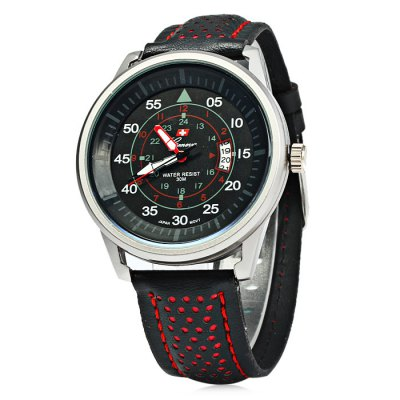Geneva 9044 Date Display Men Quartz Watch with Leather Band