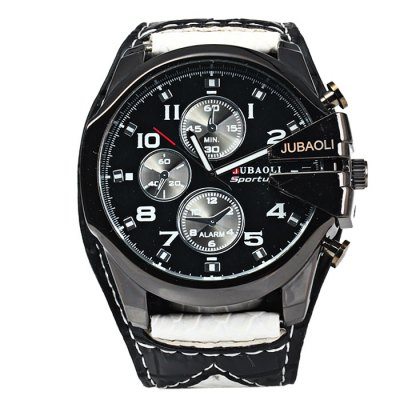 Jubaoli Big Dial Men Quartz WatchMens Watches<br>Jubaoli Big Dial Men Quartz Watch<br><br>Brand: Jubaoli<br>Watches categories: Male table<br>Watch style: Fashion<br>Available color: Black, Red, Blue, Orange<br>Movement type: Quartz watch<br>Shape of the dial: Round<br>Display type: Analog<br>Case material: Stainless steel<br>Band material: Leather<br>Clasp type: Pin buckle<br>Special features: Decorating small sub-dials<br>The dial thickness: 1.5 cm / 0.59 inches<br>The dial diameter: 5.2 cm / 2.04 inches<br>The band width: 3.0 cm / 1.18 inches<br>Wearable length: 17.5 - 21cm / 6.89 - 8.27 inches<br>Product weight: 0.084 kg<br>Package weight: 0.134 kg<br>Product size (L x W x H): 24 x 5.2 x 1.5 cm / 9.43 x 2.04 x 0.59 inches<br>Package size (L x W x H): 25 x 6.2 x 2.5 cm / 9.83 x 2.44 x 0.98 inches<br>Package contents: 1 x Jubaoli Watch