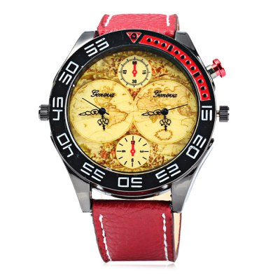 Geneva Leather Band Men Quartz Watch with Map PatternMens Watches<br>Geneva Leather Band Men Quartz Watch with Map Pattern<br><br>Brand: Geneva<br>Watches categories: Male table<br>Watch style: Fashion<br>Watch color: Blue, Red, Black and Blue, Black and Red<br>Movement type: Quartz watch<br>Shape of the dial: Round<br>Display type: Analog<br>Case material: Stainless steel<br>Band material: Leather<br>Clasp type: Pin buckle<br>The dial thickness: 1.0 cm / 0.39 inches<br>The dial diameter: 5.0 cm / 1.97 inches<br>The band width: 2.0 cm / 0.79 inches<br>Wearable length: 17 - 21 cm / 6.69 - 8.27 inches<br>Product weight: 0.063 kg<br>Package weight: 0.113 kg<br>Product size (L x W x H): 26 x 5 x 1 cm / 10.22 x 1.97 x 0.39 inches<br>Package size (L x W x H): 27 x 6 x 2 cm / 10.61 x 2.36 x 0.79 inches<br>Package contents: 1 x Geneva Watch