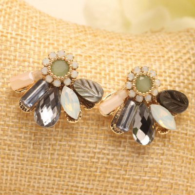 Pair of Charming Rhinestone Faux Crystal Leaf Floral Geometric Earrings For Women