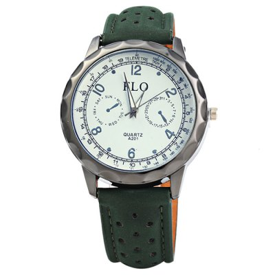 FLO A201 Male Quartz Watch with Leather Strap от GearBest.com INT