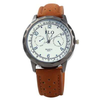 FLO A201 Male Quartz Watch with Leather StrapMens Watches<br>FLO A201 Male Quartz Watch with Leather Strap<br><br>Brand: Feiwo<br>Watches categories: Male table<br>Watch style: Fashion<br>Available color: Blue, Green, Brown<br>Movement type: Quartz watch<br>Shape of the dial: Round<br>Display type: Analog<br>Case material: Stainless steel<br>Band material: Leather<br>Clasp type: Pin buckle<br>Special features: Decorating small sub-dials<br>The dial thickness: 1.0 cm / 0.39 inches<br>The dial diameter: 4.2 cm / .65 inches<br>The band width: 2.0 cm / 0.79 inches<br>Wearable length: 18 - 22.5 cm / 7.09 - 8.86 inches<br>Product weight: 0.033 kg<br>Package weight: 0.083 kg<br>Product size (L x W x H): 26 x 4.2 x 1 cm / 10.22 x 1.65 x 0.39 inches<br>Package size (L x W x H): 27 x 5.2 x 2 cm / 10.61 x 2.04 x 0.79 inches<br>Package contents: 1 x FLO A201 Watch