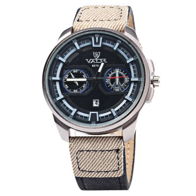 Valia 8272-1 Male Quartz WatchMens Watches<br>Valia 8272-1 Male Quartz Watch<br><br>Brand: Valia<br>Watches categories: Male table<br>Watch style: Fashion<br>Available color: White, Blue, Black<br>Movement type: Quartz watch<br>Shape of the dial: Round<br>Display type: Analog<br>Case material: Stainless steel<br>Band material: Canvas + Leather<br>Clasp type: Pin buckle<br>Special features: Decorating small sub-dials, Date<br>The dial thickness: 1.0 cm / 0.39 inches<br>The dial diameter: 4.2 cm / .65 inches<br>The band width: 2.0 cm / 0.79 inches<br>Wearable length: 17.5 - 22 cm / 6.89 - 8.66 inches<br>Product weight: 0.053 kg<br>Package weight: 0.103 kg<br>Product size (L x W x H): 25 x 4.2 x 1 cm / 9.83 x 1.65 x 0.39 inches<br>Package size (L x W x H): 26 x 5.2 x 2 cm / 10.22 x 2.04 x 0.79 inches<br>Package contents: 1 x Valia 8272-1 Watch