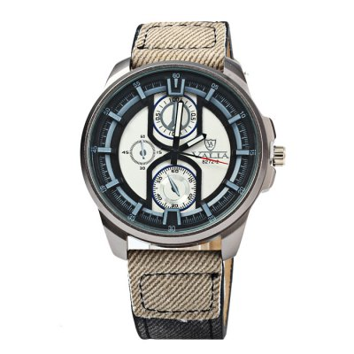 Valia 8272-2 Male Quartz Watch Canvas + Leather Strap