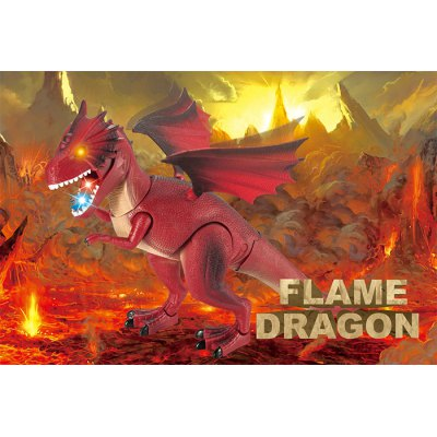 RuiCHENG No.9988D Radio Control Walking Dinosaur Fire Dragon with Sound Wing