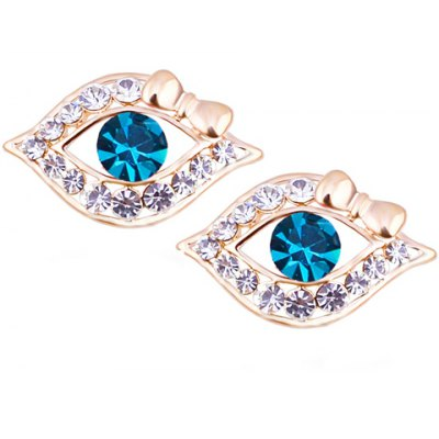 Pair of Stylish Faux Crystal Rhinestone Hollow Out Eye Shape Earrings For Women