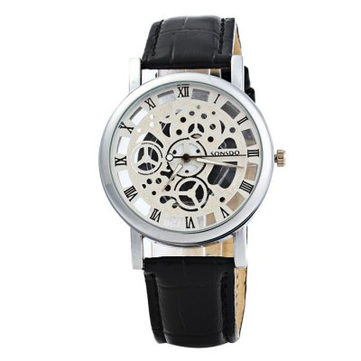 SONSDO Transparent Dial Male Hollow-out Quartz WatchMens Watches<br>SONSDO Transparent Dial Male Hollow-out Quartz Watch<br><br>Brand: SONSDO<br>Watches categories: Male table<br>Watch style: Fashion<br>Style elements: Hollow out<br>Available color: Brown, Black, Brown and Gold<br>Movement type: Quartz watch<br>Shape of the dial: Round<br>Display type: Analog<br>Case material: Stainless steel<br>Band material: Leather<br>Clasp type: Pin buckle<br>The dial thickness: 1.0 cm / 0.39 inches<br>The dial diameter: 4.0 cm / 1.57 inches<br>The band width: 2.0 cm / 0.79 inches<br>Wearable length: 17.5 - 22 cm / 6.89 - 8.66 inches<br>Product weight: 0.039 kg<br>Package weight: 0.089 kg<br>Product size (L x W x H): 25 x 4 x 1 cm / 9.83 x 1.57 x 0.39 inches<br>Package size (L x W x H): 26 x 5 x 2 cm / 10.22 x 1.97 x 0.79 inches<br>Package contents: 1 x SONSDO Watch