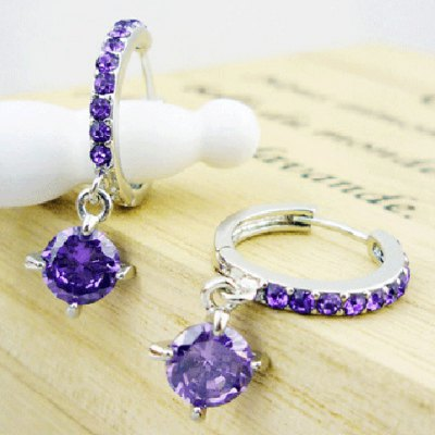 Pair of Stylish Faux Crystal Rhinestone Hollow Out Circular Ring Earrings For Women