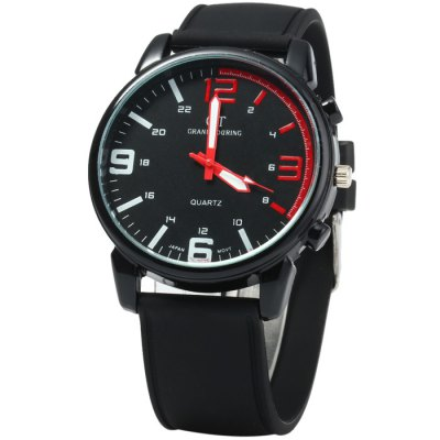 GT Men Japan Quartz Watch with Rubber BandMens Watches<br>GT Men Japan Quartz Watch with Rubber Band<br><br>Brand: GT<br>Watches categories: Male table<br>Watch style: Trends in outdoor sports<br>Available color: Black<br>Movement type: Quartz watch<br>Shape of the dial: Round<br>Display type: Analog<br>Case material: Stainless steel<br>Band material: Rubber<br>Clasp type: Pin buckle<br>The dial thickness: 0.8 cm / 0.31 inches<br>The dial diameter: 4.3 cm / 1.69 inches<br>The band width: 2.0 cm / 0.79 inches<br>Wearable length: 17.5 - 22 cm / 6.89 - 8.66 inches<br>Product weight: 0.055 kg<br>Package weight: 0.105 kg<br>Product size (L x W x H): 25.5 x 4.3 x 0.8 cm / 10.02 x 1.69 x 0.31 inches<br>Package size (L x W x H): 26.5 x 5.3 x 1.8 cm / 10.41 x 2.08 x 0.71 inches<br>Package contents: 1 x GT Watch