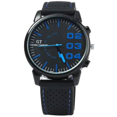 GT Japan Quartz Watch with Rubber Strap for MenMens Watches<br>GT Japan Quartz Watch with Rubber Strap for Men<br><br>Brand: GT<br>Watches categories: Male table<br>Watch style: Trends in outdoor sports<br>Available color: Orange, Yellow, White, Red, Blue, Green, Black<br>Movement type: Quartz watch<br>Shape of the dial: Round<br>Display type: Analog<br>Case material: Stainless steel<br>Band material: Rubber<br>Clasp type: Pin buckle<br>Special features: Decorating small sub-dials<br>The dial thickness: 1.0 cm / 0.39 inches<br>The dial diameter: 4.3 cm / 1.69 inches<br>The band width: 2.0 cm / 0.79 inches<br>Wearable length: 17.5 - 22 cm / 6.89 - 8.66 inches<br>Product weight: 0.056 kg<br>Package weight: 0.106 kg<br>Product size (L x W x H): 25 x 4.3 x 1 cm / 9.83 x 1.69 x 0.39 inches<br>Package size (L x W x H): 26 x 5.3 x 2 cm / 10.22 x 2.08 x 0.79 inches<br>Package contents: 1 x GT Watch