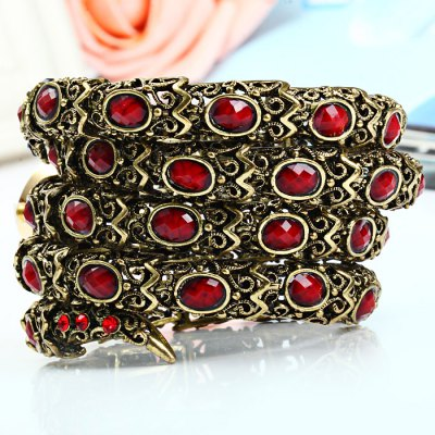 Women Diamond Snake Quartz Bracelet WatchWomens Watches<br>Women Diamond Snake Quartz Bracelet Watch<br><br>Watches categories: Female table<br>Available color: Black, Red, Plum<br>Style: Bracelet, Fashion&amp;Casual<br>Movement type: Quartz watch<br>Shape of the dial: Round<br>Display type: Analog<br>Case material: Stainless steel<br>Band material: Stainless steel<br>The dial thickness: 1.0 cm / 0.39 inches<br>The dial diameter: 4.0 cm / 1.57 inches<br>The band width: 5.0 cm / 1.97 inches<br>Product weight: 0.128 kg<br>Package weight: 0.193 kg<br>Product size (L x W x H) : 7 x 5 x 1 cm / 2.75 x 1.97 x 0.39 inches<br>Package size (L x W x H): 8 x 8 x 6 cm / 3.14 x 3.14 x 2.36 inches<br>Package contents: 1 x Watch