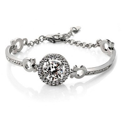 Exquisite Faux Crystal Rhinestone Round Bracelet For Women