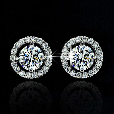 Pair of Stylish Faux Crystal Rhinestone Round Earrings For Women