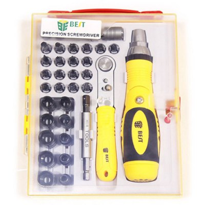 BST-2888 35 in 1 Screwdriver Set Computer Phone Repair ToolScrewdriver &amp; Screwdriver Set<br>BST-2888 35 in 1 Screwdriver Set Computer Phone Repair Tool<br><br>Model  : BST-2888<br>Steel Material  : Chrome Vanadium Steel<br>Screw Head Type: All-in-One<br>Special Function  : Repair<br>Optional Color: Yellow<br>Product Weight: 0.750 kg<br>Package Weight: 0.811 kg<br>Product Size (L x W x H): 15.5 x 4 x 3.5 cm / 6.09 x 1.57 x 1.38 inches<br>Package Size (L x W x H): 19 x 15 x 4.5 cm / 7.47 x 5.90 x 1.77 inches<br>Package Contents: 2 x Handle, 2 x Extension Bar, 30 x Bits, 1 x Tool Box