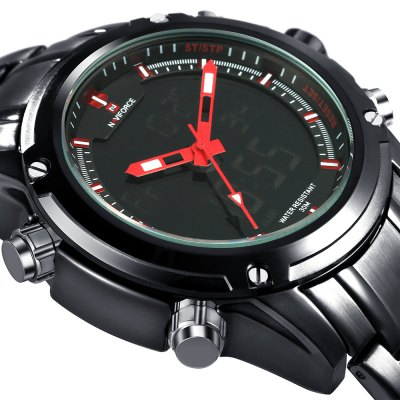 NAVIFORCE NF9050 Luxury Men Quarz WatchMens Watches<br>NAVIFORCE NF9050 Luxury Men Quarz Watch<br><br>Brand: Naviforce<br>Watches categories: Male table<br>Watch style: Fashion<br>Style elements: LED<br>Movement type: Double-movtz<br>Shape of the dial: Round<br>Display type: Analog-Digital<br>Hour formats: 12/24 Hour<br>Watch-head: Ordinary<br>Case material: Alloy<br>Case color: Black<br>Band material: Stainless Steel<br>Clasp type: Folding clasp with safety<br>Band color: Black,Silver<br>Special features: Alarm Clock,Calendar,Stopwatch<br>Water resistance : 30 meters<br>The dial thickness: 16mm<br>The dial diameter: 43mm<br>The band width: 22mm<br>Wearable length: 22.6cm / 8.90 inches<br>Product weight: 0.170 kg<br>Package weight: 0.250 kg<br>Package size (L x W x H): 9.00 x 8.00 x 5.00 cm / 3.54 x 3.15 x 1.97 inches<br>Package Contents: 1 x NAVIFORCE NF9050 Dual Movt Men Quarz Watch