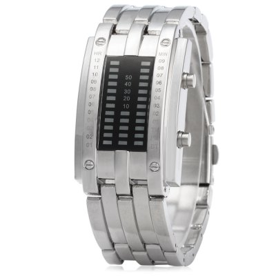 Date Digital LED Bracelet Watch for Women with LED DisplayCouples Watches<br>Date Digital LED Bracelet Watch for Women with LED Display<br><br>Watches categories: Female table<br>Available color: Black, Silver<br>Style: LED<br>Movement type: Light table<br>Display type: Digital<br>Case material: Stainless steel<br>Band material: Alloys<br>Clasp type: Folding clasp with safety<br>Water resistance : 30 meters<br>Special features: Month, Date, Light<br>The dial thickness: 1.1 cm / 0.43 inches<br>The dial diameter: 2.5 cm / 0.98 inches<br>The band width: 2 cm / 0.79 inches<br>Product weight: 0.093 kg<br>Package weight: 0.163 kg<br>Product size (L x W x H) : 24 x 2.5 x 1.1 cm / 9.43 x 0.98 x 0.43 inches<br>Package size (L x W x H): 26 x 4.5 x 3.1 cm / 10.22 x 1.77 x 1.22 inches<br>Package contents: 1 x Ladies LED Watch